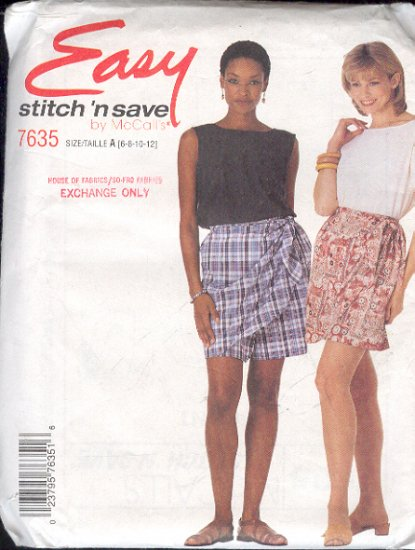 McCall's Sewing Pattern 7635 Tops and Shorts, Nice Variations, Size 6 thru 12