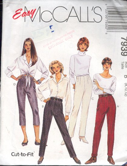 McCall's Sewing Pattern 7939 Pants in two lengths, Size 8 10 12