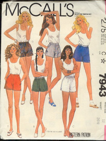 McCall's Sewing Pattern 7943 Shorts, Six Variations, Size 12