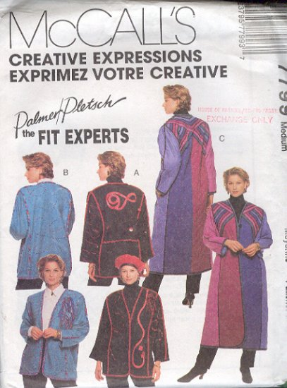 McCall's Sewing Pattern 7799 Palmer Pletsch Fancy Jacket & Coat, Size 12 14
