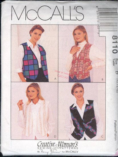 McCall's Sewing Pattern 8110 Vests, 4 versions, Size 12 14 16