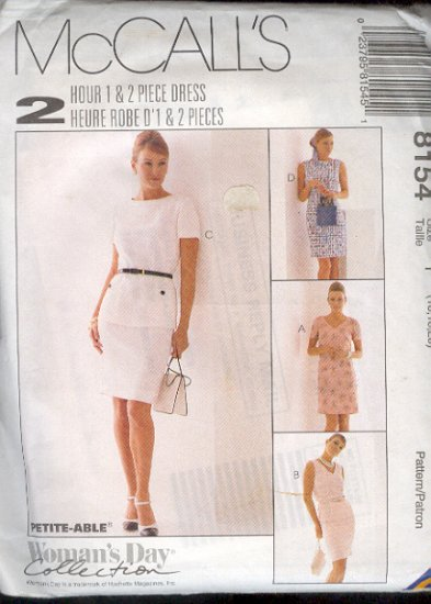 McCall's Sewing Pattern 8154 Dress with variations, Size 16 18 20