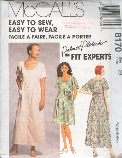 McCall's Sewing Pattern 8170 by Palmer Pletsch, Dress in two Lengths, Size 26