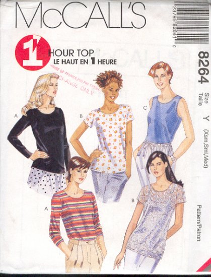 McCall's Sewing Pattern 8264 Top with five variations, quick sew, Size 4 thru 14