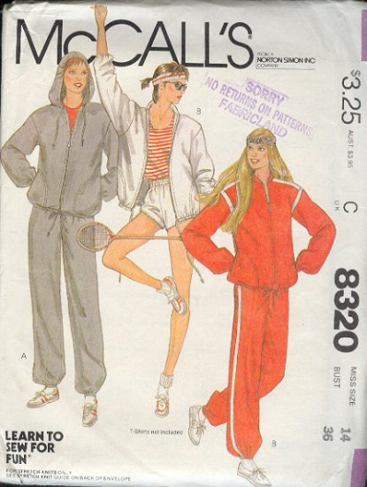 McCall's Sewing Pattern 8320 Sweats, Pants, Shorts, Jacket, Hoody, Size 14
