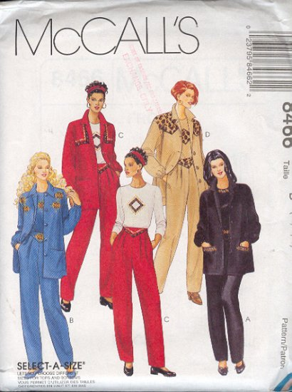McCall's Sewing Pattern 8466 3-Piece Pant Suit, Top, Jacket, Pants, Size 12 14 16