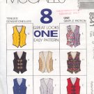 McCall's Sewing Pattern 8541 Vests, Eight Variations, Size 12 14 16