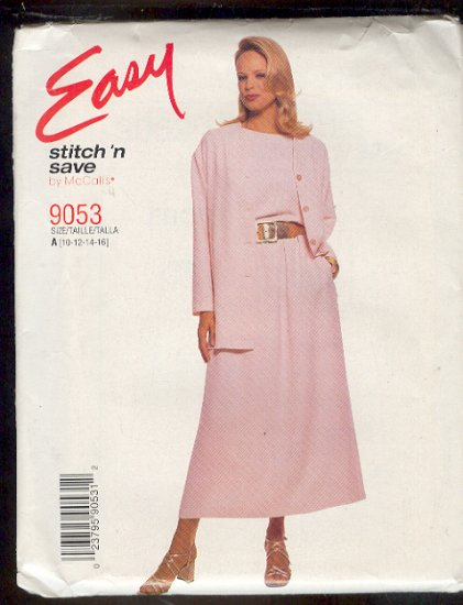 McCall Sewing Pattern 9053 Unlined jacket, Top and  Pull on skirt, Size 10 thru 16