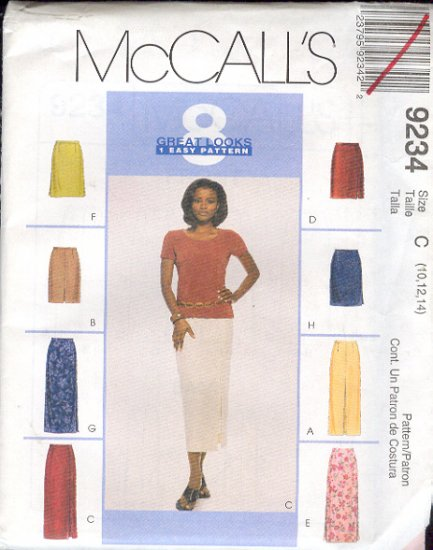 McCall's Sewing Pattern 9234 Skirt in two lengths, eight variations, Size 10 12 14