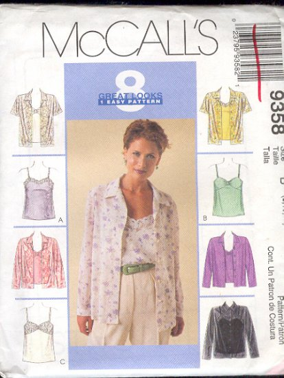 McCall's Sewing Pattern 9358 Shirt and camisoles, Size 8 10 12