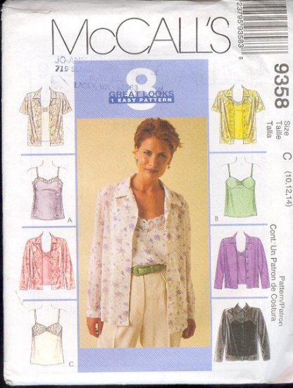 McCall's Sewing Pattern 9358 Shirt and Camisoles, Eight Variations, Sizes 10 12 14