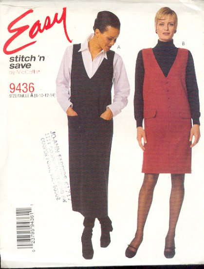 McCall's Sewing Pattern 9436 Jumper in two lengths, Size 8 - 14