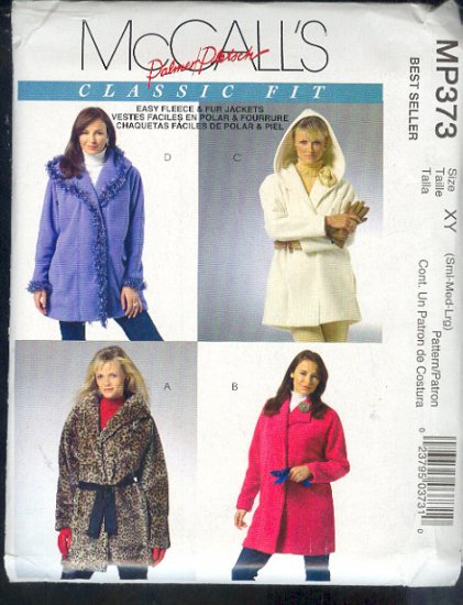 McCall's Sewing Pattern MP373  Easy fleece or faux fur jackets, size 8-18