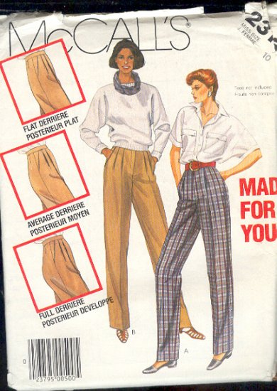 McCall's Sewing Pattern 2315 Made for You Pants Fitting Help.  Size 10