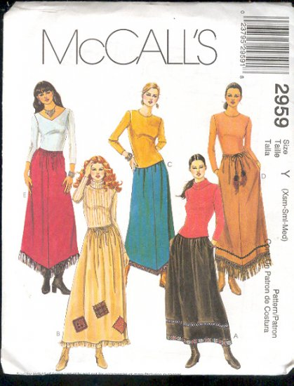 McCall's Sewing  Pattern 2959 Skirt with four variations, Size 4 - 14