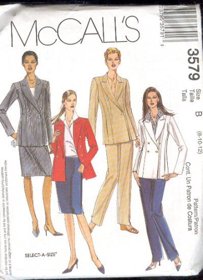 McCall's Sewing Pattern 3579 Double breasted suit, Size 8-12