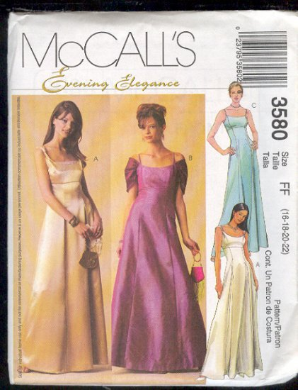 McCall's Sewing Pattern 3580 Classic Princess Waist Empire Formal, Prom Dress Size 16 18 20 22