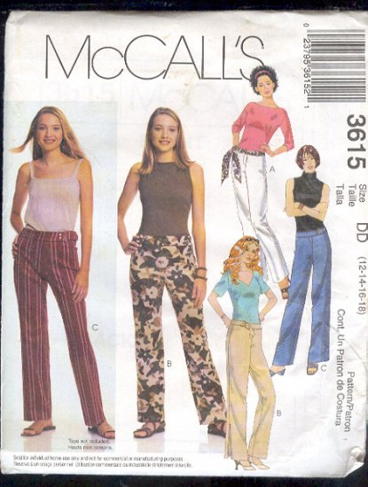 McCall's Sewing Pattern 3615 Pants and tie belt, size 12 - 18