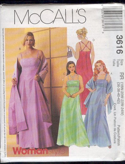 McCall's Sewing Pattern 3616 Classic Formal, Princess/Empire with stole Size 18W - 24W