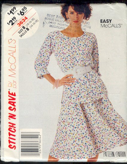 McCall's Sewing  Pattern 3634 Two Piece Dress, Size 14 16 18
