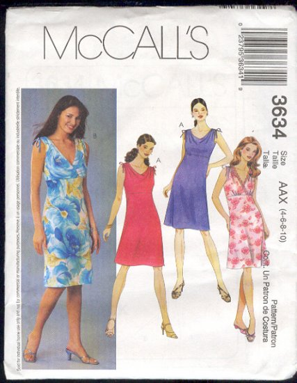 McCall's Sewing Pattern 3634 Dress with variations, Size 4-10