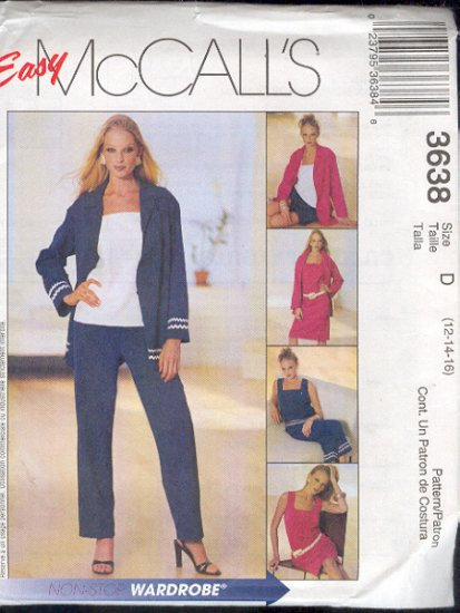 McCall's Sewing Pattern 3638 Jacket, Top, Dress, Shorts, Pants, Size 12 - 16