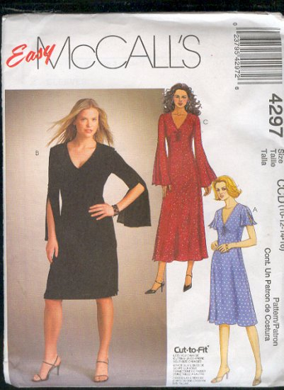 McCall's Sewing Pattern 4297 Dress with flirty sleeves, three variations, size 10 - 16