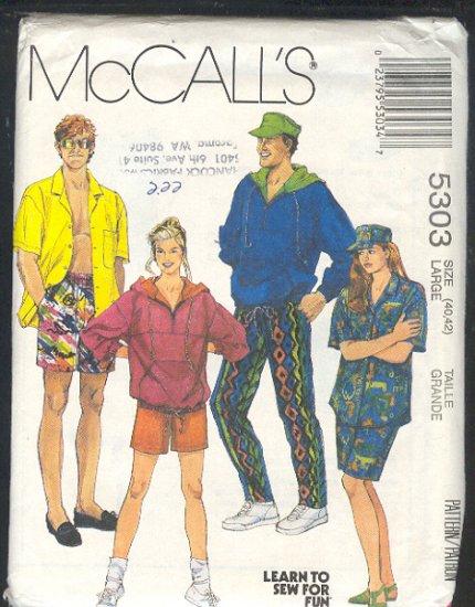 McCall's Sewing Pattern 5303 Unisex Sports - Hooody, shirt, pants, shorts, size 40-42