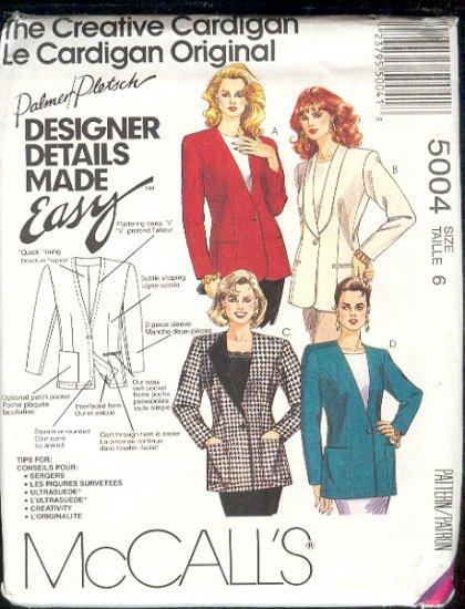 McCall's Sewing Pattern 5004 Blazer by Palmer Pletsch Size 6