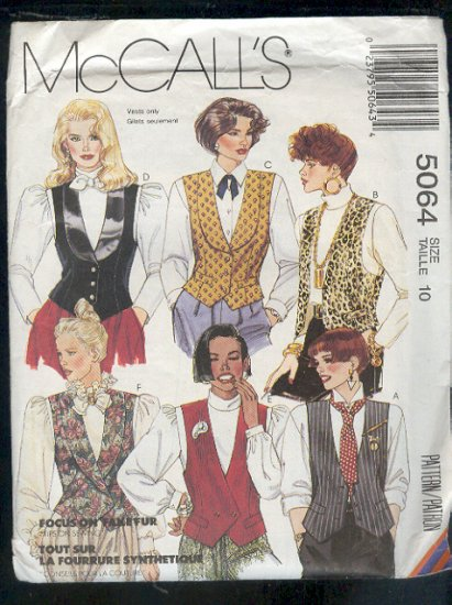 McCall's Sewing Pattern 5064 Vests, Six options, size 10