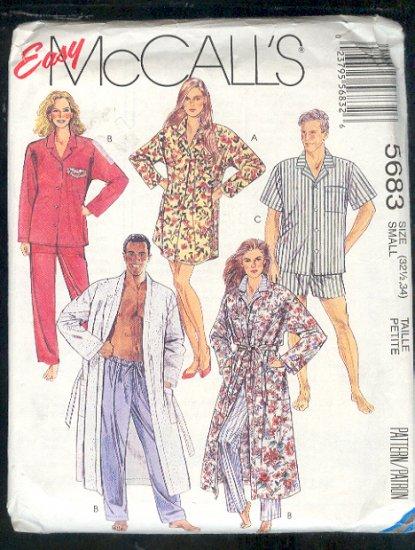 McCall's Sewing Pattern 5683 Unisex sleep gear, Robe, Jams, Shorts, Size 32/34