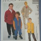 McCall's Sewing Pattern 2417 Boys hoody, pants and vest for fleece, size 12 14 16