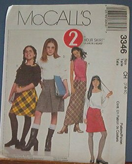 McCall's Sewing Pattern 3346 Girl's skirts, two lengths, Size 7 8 10