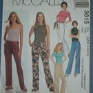 McCall's Sewing Pattern 3615 Low rise pant with tie belt.  Size 4 - 10