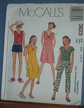 McCall's Sewing Pattern 3623 Tops and Dress with options, Pull on shorts and pants, size 7 8 10