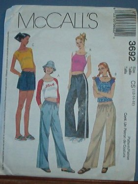 McCall's Sewing Pattern 3692 Crop top and drawstring pant and shorts, Size 12 14 16