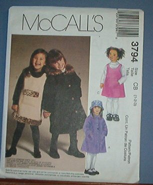McCall's Sewing Pattern 3794 Toddler Jumper, Coat, Hat stretch knits, Size 1 2 3