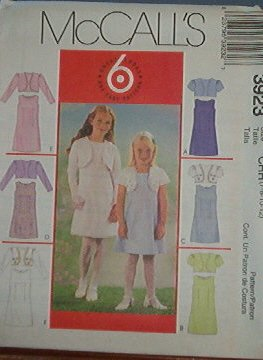 McCall's Sewing Pattern 3923 Girl's Dress with lined jacket and variations, Size 7-12