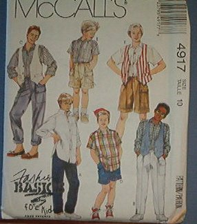 McCall's Sewing Pattern 4917 Boy's Vest, Shirt, Pants and Shorts, Size 10