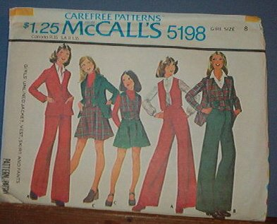 McCall's Vintage Sewing Pattern 5198 Lined Vest, Jacket and Bell Bottom Pants, Size 8