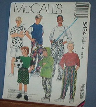 McCall's Sewing Pattern 5484 Boy's Stretch Knit Tops, Pants and Shorts, Size 7 8 10