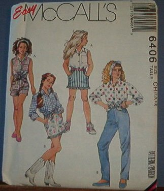 McCall's Sewing Pattern 6406 Girl's Shorts, Pants, Shirt and Skirt, Size 7 8 10