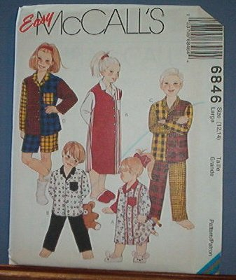 McCall's Sewing Pattern 6846 Child's pajamas, nightgown, Size 7