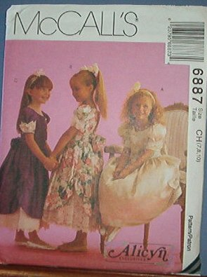McCall's Sewing Pattern 6887 Fancy, Party, or Bridal Child's Dress, Alicyn Collelction Size 7 8 10