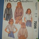 McCall's Sewing Pattern 7235  Girl's Shirt with varitions, Size 7