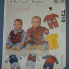 McCall's Sewing Pattern, Infant jumpsuit with variations, Size 10 - 24 lbs