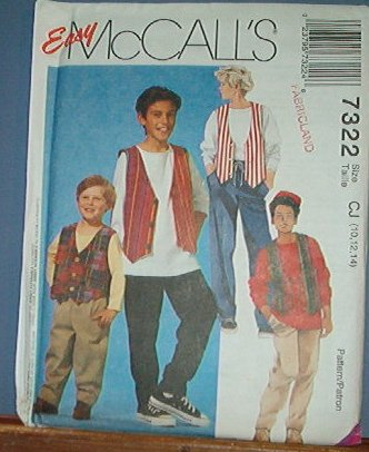 McCall's Sewing Pattern 7322 Boy's Lined Vest, Stretch Knit T Shirt, pull on pants. Size 10 12 14