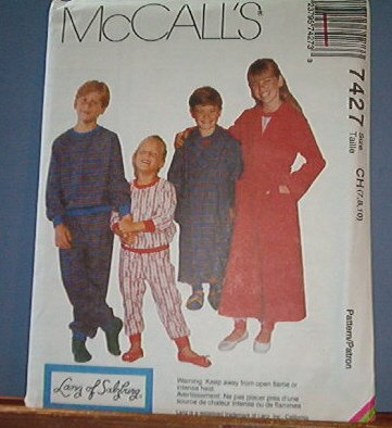 McCall's Sewing Pattern 7427 by Lanz of Salzberg, Robe, Jams, Size 7 8 10