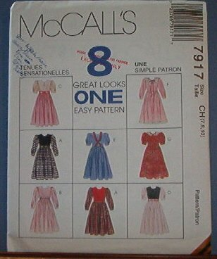 McCall's Sewing Pattern 7917 Special Occasion Dress, Six variations, Size 7 8 10
