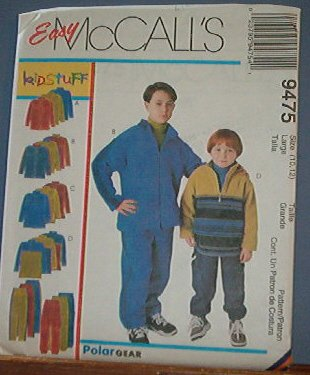 McCall's Sewing Pattern 9475 Polar Fleece Tops and Pants for Boys. Size 10 12